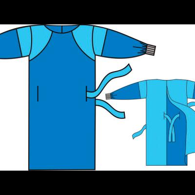 Халат хирургический (с передней ламинированной поверхностью и рукавами)
